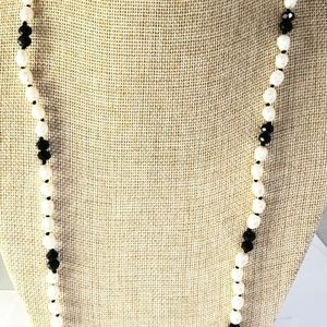 Crystal & Freshwater Pearl Wrap Around Necklace